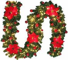 2.7M Tannengirlande Weihnachtsgirlande Beleuchtung