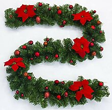 2.7m Weihnachtsgirlande mit künstlichem Kranz der