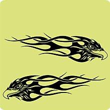 2 Adler-Aufkleber zur Dekoration von Wänden, Glasprodukten, Fliesen und allen anderen glatten Oberflächen