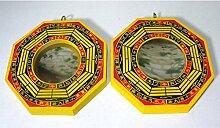 2 BaGua Spiegel konvex und konkav ca. 10,5cm Holz