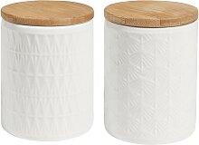 2 Becher aus Keramik, weiß mit Deckel
