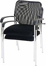 2 Besucherstühle Konferenzstühle stapelbar 2x Besucherstuhl schwarz Textil Stuhl