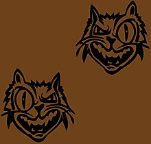 2 Comic-Katzen-Aufkleber zur Dekoration von Wänden, Glasprodukten, Fliesen und allen anderen glatten Oberflächen