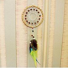 2 × Dream Catcher Einrichtung hängen mit Federn hängende Dekoration Dreamcatcher Net Indien Style Stunden Dekoration Hochzeit Home Car Wand Dekor Festival Urlaub Geschenk Handarbeit für Kinder und Freunde
