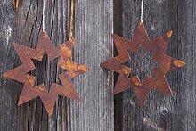 2 Edelrost Sterne offen D15cm Fensterschmuck