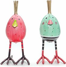 2 Eier im Set | Huhn aus Metall | Osterei bunt bemalt | türkis pink | Osterdekoration | 16 cm
