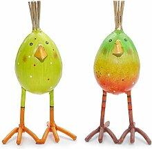 2 Eier im Set   Huhn aus Metall   Osterei Grün Gelb Bunt Bemalt Osterdekoration 16 cm