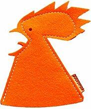 2 Eierwärmer Hahn Kukko orange aus Wollfilz -