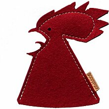 2 Eierwärmer Hahn Kukko rot aus Wollfilz -