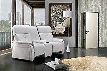 2-er Cinema Sessel mit weißem Kunstleder bezogen, Relaxfunktion Aufbewahrungsfach und 2 Getränkehalter, Maße: B/H/T ca. 188/104/90 cm
