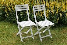 2-er Set Klappstühle Stuh Klappstuhl Sessel Balkon Bistrostühle weiss