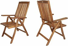 2-er Set Stuhl Sessel Balkon Garten Armchair Natur Eukalyptusholz FSC®