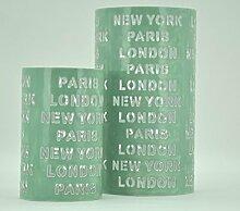 2 er Set Windlicht New York / London / Paris H: 30 / 21cm mint - grün Laterne