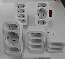 2 fach 3 fach Steckdose Schalter Doppel Stecker Adapter Verteiler Kabellos Doppelstecker 5Se