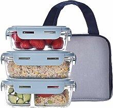 2 Fächer Glas Essen Vorbereitung Container Mit