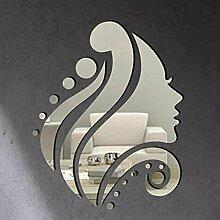 2 Farben DIY 3D Beauty Style Mirror Wall Sticker Creative Design Glas Wand Dekoration für Haus Wohnzimmer, Silber