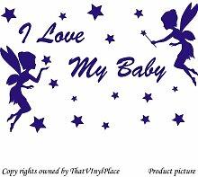 2 Fee mit Sternen und Schriftzug I Love my Baby) - 60 cm x 40 cm, Farbe Blue Sapphire Fairy, sprite, peri, fay, Kinder, Schlafzimmer, Kinderzimmer, Aufkleber, Vinyl, Fenster und Wand Aufkleber, Wand Windows-Art ThatVinylPlace Wandtattoo,