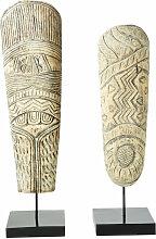 2 Figuren aus geschnitztem Akazienholz mit