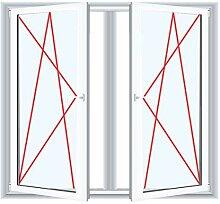 2-flügliges Kunststofffenster/PVC/Weiß