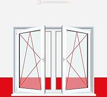 2-flügliges Kunststofffenster/PVC/Weiß Dreh-Kipp/Dreh-Kipp Fenster mit Pfosten, Glas:3-Fach, BxH:1300x1300