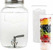 2 Gallon Glas Getränkespender mit Eis und Obst Ei