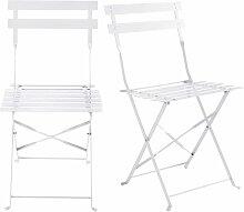 2 Gartenklappstühle aus Metall mit weißem