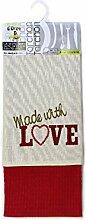 2 Geschirrtücher mit Stickerei WITH LOVE Baumwolle