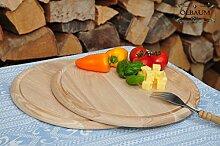 2 Grill Pizzabrett, Flammkuchen Servierbrett, Holzbrett rund, PREMIUM-QUALITÄT, groß Holz,mit umlaufender Rille - Ölrille / Saftrille -, je ca. 28 cm, als Bruschetta-Pita-Döner-Naan-Roti-Ciabatta-Langos-Chubz-Servierbretter, Grill-Schneidebrett Grill-Schneidebrettchen, Grillbrettchen,Anrichtebretter, Brotzeitbretter, Steakteller schinkenbrett rustikal, Schinkenteller von BTV