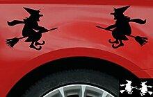 2 Hexen-Aufkleber zur Dekoration von Autos, Motorrädern, Fahrrädern und allen anderen Fahrzeugen; aus 18 Farben wählbar; Schwarz