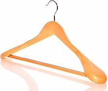 2 Holz Kleiderbügel mit breiten Enden und rutschfeste bar für Mäntel, Jacken & Hosen-Wählen Menge
