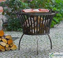 2 in 1 Korono Feuerkorb 60x60 cm + Grill Rost 40X40cm Lagerfeuer & Mobiler Grill - Stilvoll & Elegan