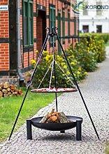 2 in 1 Korono Schwenk Grill 180cm Dreibein Rost 60cm & Feuerschale 70cm mit Loch - Stilvolle Beleuchtung & mobiler Grill