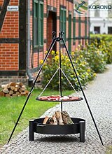 2 in 1 Korono Schwenk Grill 180cm Dreibein Rost 60cm & Feuerschale 70cm - Stilvolle Beleuchtung & mobiler Grill