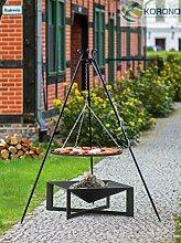 2 in 1 Korono Schwenk Grill Rost 80 cm & quadratischer Feuerschale 70x70 cm - elegante Feuerschale & mobiler Grill