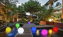 2-in-1 Solar Gartenleuchte - Schwimmkugel mit LED Beleuchtung / Ø 30 od. 40 cm / kabellos / schwimmfähig / 8 Farben / optionaler Farbwechsel / IP67 / RGB / Kugel Solarlampe / Dekoleuchte / Außenleuchte / Gartenlampe / Dekokugel / Leuchtkugel / Kugelleuchte / Solarleuchte (40 cm)