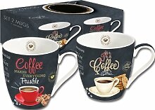 "2 Jumbobecher ""Its Coffee Time"" rot/beige"
