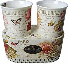 2 Jumbobecher 350 ml Marche aux Fleurs im Geschenkkarton Vintage Rosen Kaffeetassen Se