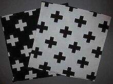 2 Kissenbezüge schwarz und weiß mit Kreuz ca.40x40cm