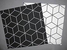 2 Kissenbezüge weiß und schwarz mit Muster ca.40x40cm