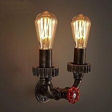 2 Köpfe Vintage Industrial Metal Wandleuchten Restaurant Cafe Bar Dekoration Beleuchtung