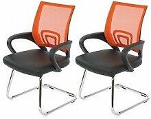2 Konferenzstühle orange 2er Set Besucherstuhl Praxis Stuhl Freischwinger Büro