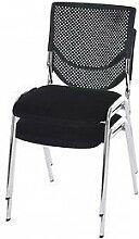 2 Konferenzstühle schwarz 2er Set Besucherstuhl stapelbar Stuhl Stapelstuhl