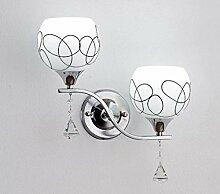 2 Kopf einfache Wandlampe Glas Lampenschirm