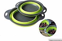 2 Kunststoff aufbewahrungskörbe Faltenfilter Warenkorb Obst Gemüse waschen mit filter Einklappen Küche, BB, Griff 2