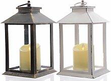 2 Laternen mit LED Flackerkerze in antik weiss und antik schwarz