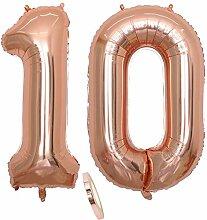 2 Luftballons Zahl 10, Nummer 10 Luftballon