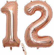 2 Luftballons Zahl 12, Nummer 12 Luftballon