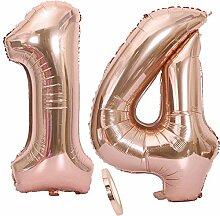 2 Luftballons Zahl 14, Nummer 14 Luftballon