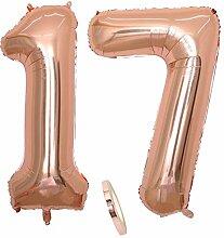 2 Luftballons Zahl 17, Nummer 17 Luftballon