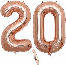 2 Luftballons Zahl 20, Nummer 20 Luftballon